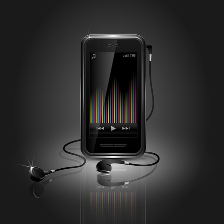 portable audio: Sleek mobile phone playing music with equalizer and headset Illustration