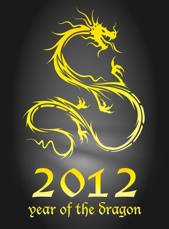 2012 year of the dragon poster Vector