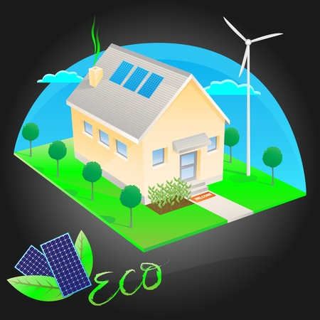 Eco friendly house with solar energy Vector