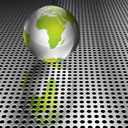 wereldbol groen: Realistische metallic groene bol op chromen raster Stock Illustratie