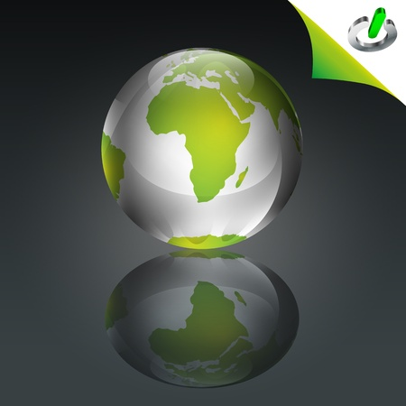 Conceptual green globe with green power icon