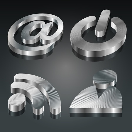 machined: 3D metallic symbols set)