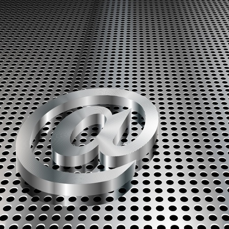 electronic mail: Realistic 3D metallic at symbol on chrome grid