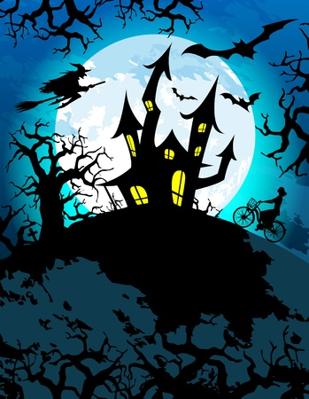 Halloween theme with creepy haunted house Vector