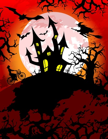 Halloween theme with spooky haunted house Vector