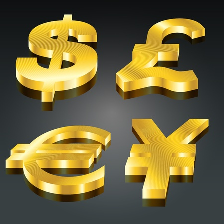 Golden currency set - dollar, pound, euro & yen (EPS10 - Gradient, Transparency) Vector