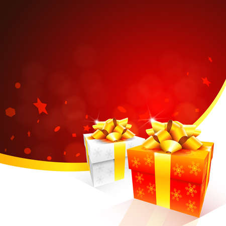 red gift box: Conceptual red christmas card background  Illustration