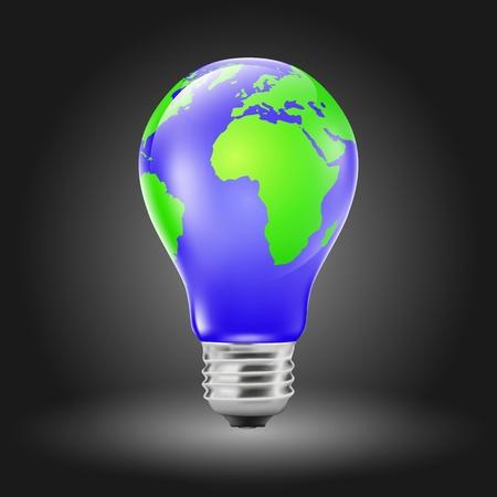 Light bulb shaped planet earth (EPS10 - gradient, transparency, mesh)