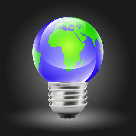 Earth shaped light bulb (EPS10 - gradient, transparency, mesh) Vector