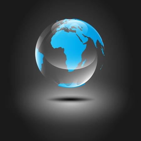 光沢のある半透明浮動惑星の地球 (EPS10)