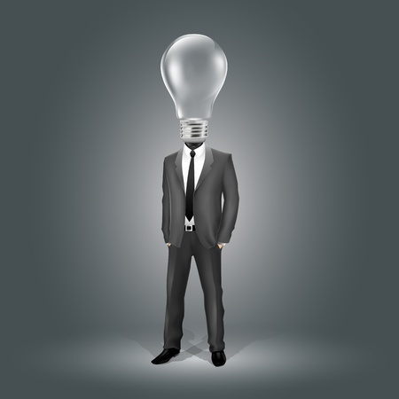 Businessman with Light Bulb Head (EPS10 - gradient, transparency, mesh) Vector