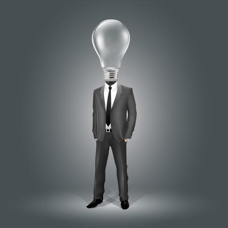 prodigio: Uomo d'affari con testa lampadina (EPS10 - gradiente, trasparenza, mesh) Vettoriali