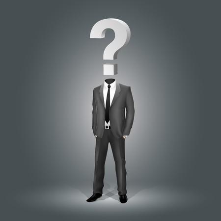 疑問符の頭 (EPS10 - グラデーション、透明度、メッシュ) を持ったビジネスマン  イラスト・ベクター素材