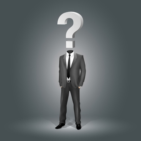 brain mysteries: Businessman with Question Mark Head (EPS10 - gradient, transparency, mesh)