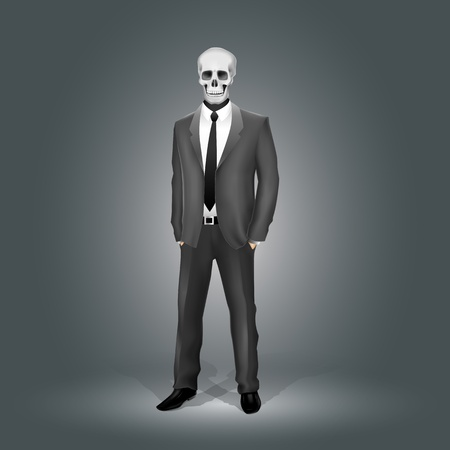 Businessman with Skull Head (EPS10 - gradient, transparency, mesh) Vector
