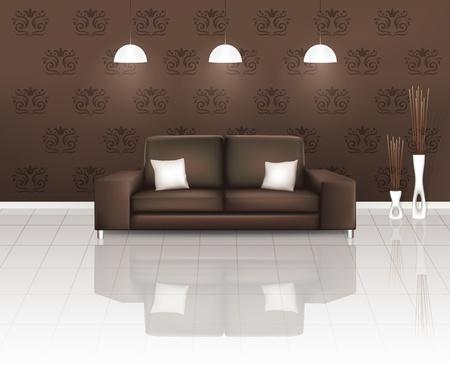 minimal: El espacio de estar con sof� Brown Vectores