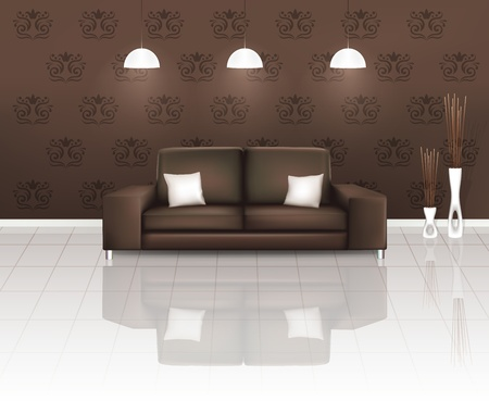 Living Space with Brown Sofa  Vector