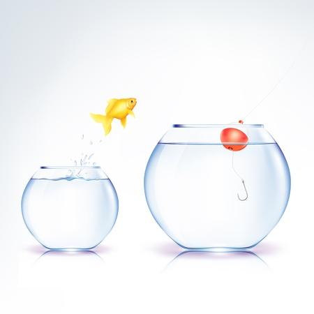 개념 물고기 유혹 벡터 (일러스트)