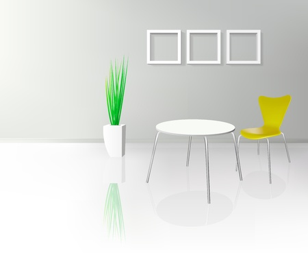 Modern Dinning Room Interior  Vector