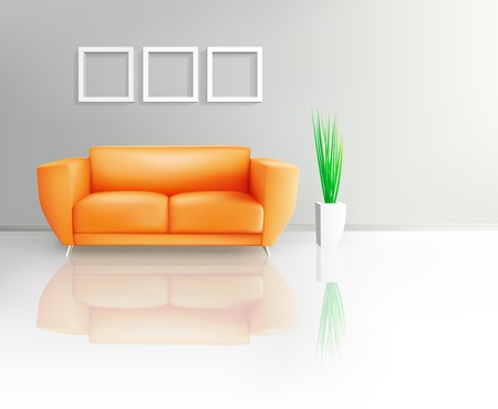 modern living room: Orange Sofa In Living Space