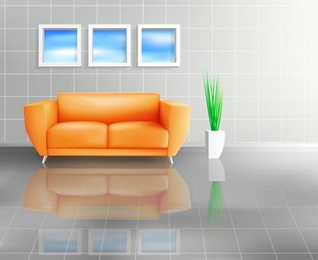 タイル張りの生きているスペースでオレンジ色のソファ