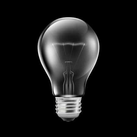 Realistic light bulb isolated on black  Illustration