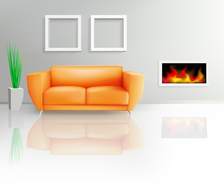 couch: Orange Sofa and Fireplace