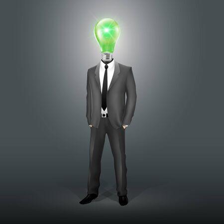Businessman with Green Bulb Head (EPS10) Stock Vector - 11231951