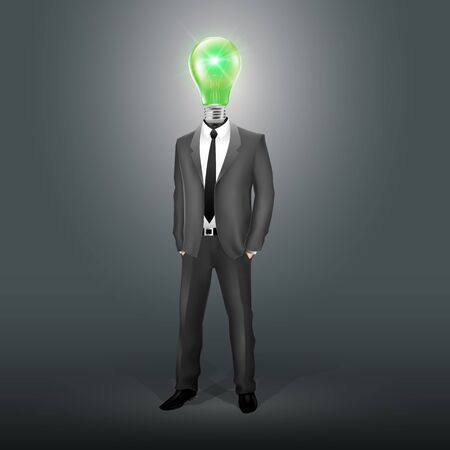 stimulated: Businessman with Green Bulb Head (EPS10)