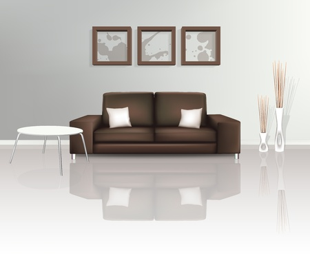 Modern Living Space with Brown Sofa Vector