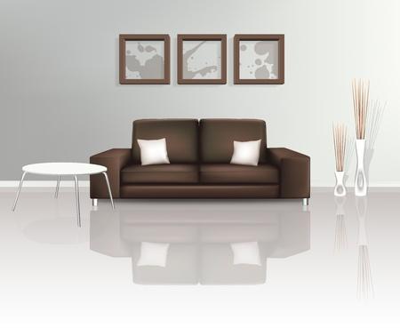 tr�sten: Modernen Wohnraum mit braunen Sofa Illustration