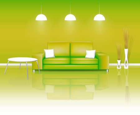 Modern Green Living Space  Vector