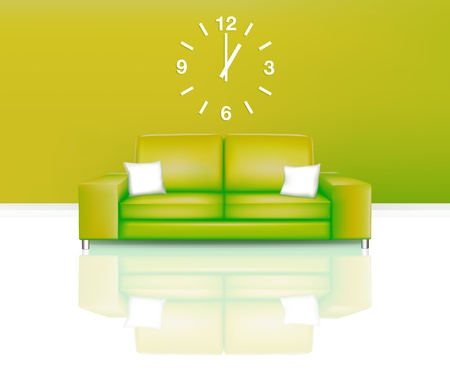 Modern Green Sofa with Time (EPS10) Stock Vector - 11325046