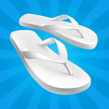 White Sandals on Blue Background Vector