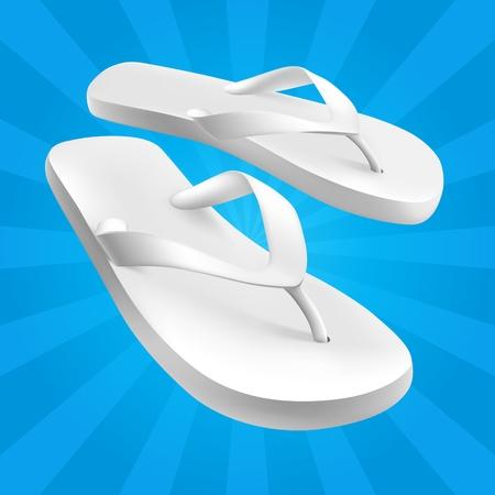 Wit Sandalen op blauwe achtergrond
