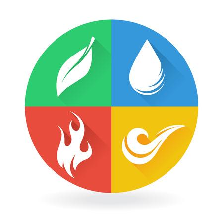 Cuatro Natural Elementos Tierra Aire Agua y Fuego Ilustración de vector