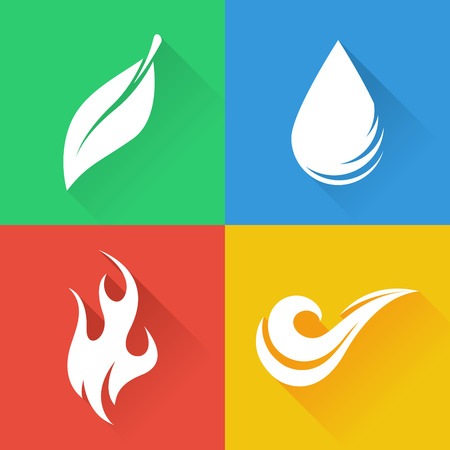 flames icon: Four Natural Elements  Earth Water Air and Fire