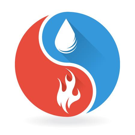 陰陽概念水と火  イラスト・ベクター素材