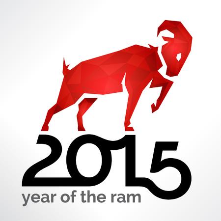 carnero: 2015 Año Nuevo chino de la RAM de las ovejas o cabras en la tarjeta blanca