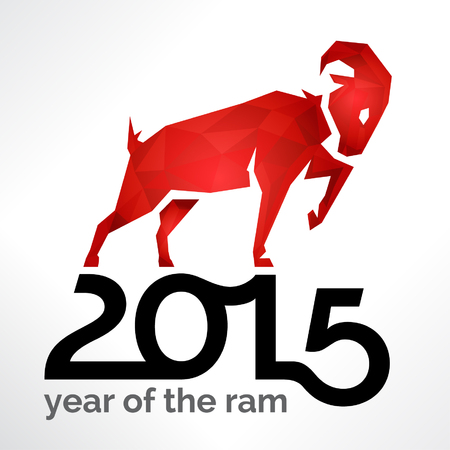 ram sheep: 2015 Chinese New Year of the Ram Sheep or Goat on White Card Illustration