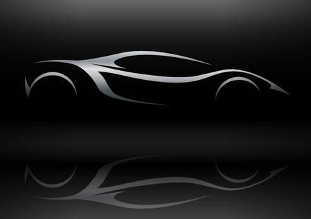 silhouette voiture: Silhouette Concept Sportscar véhicule 01
