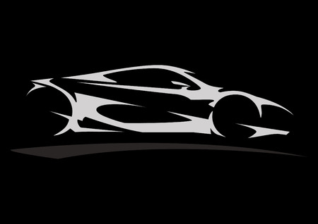 Concept Sportscar Vehicle Silhouette 05 Ilustracja