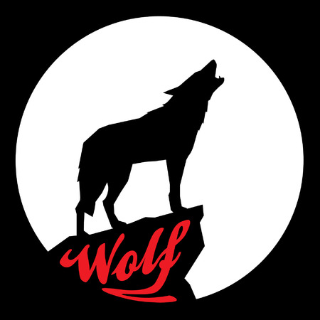 Full Moon with Howling Wolf Silhouette 向量圖像
