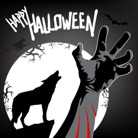 happy halloween: Happy Halloween Invitation  Werewolf Attack