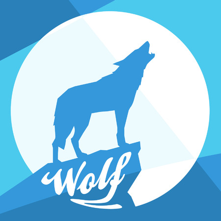 wolf: Full Moon with Howling Wolf Silhouette on Flat Abstract Blue Design