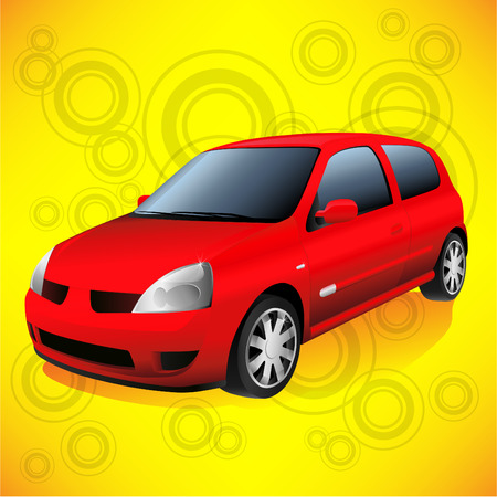 hatchback: Small Red City Car on Funky Orange Retro Background