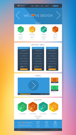 website design: Colorful Flat Website UI Design