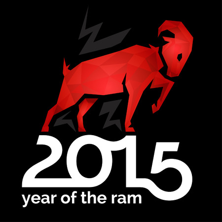ram sheep: 2015 Chinese New Year of the Ram Sheep or Goat on Black Card