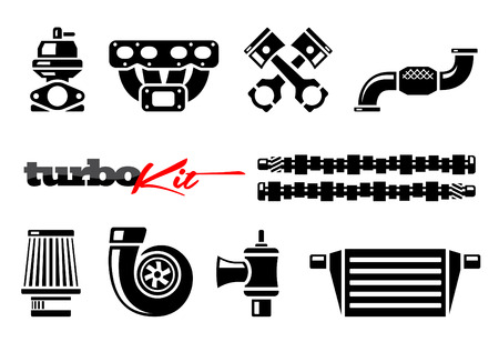 Vehicle Parts Icons for High Performance Turbo Kit Vectores
