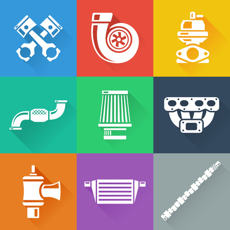 car tuning: Vehicle Performance Parts Flat Icons Set Illustration